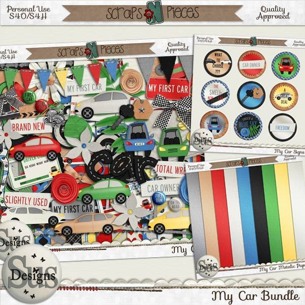 My Car Bundle #SusDesigns #DigiScrap #Scrapbook #ScrapsNPieces