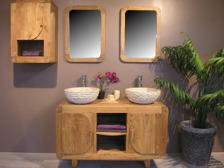 Awesome meuble de salle de bain en teck rtro cm with for Fabriquer un meuble sous lavabo
