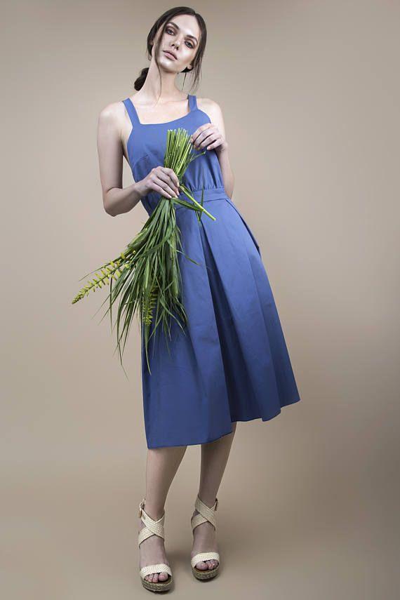Blue dress romantic dress midi dress dress with suspenders