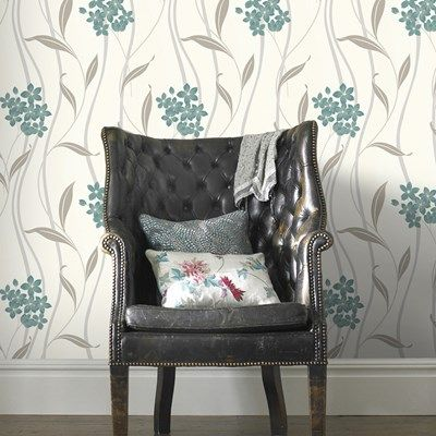 Alannah Teal / Silver Wallpaper by Graham and Brown