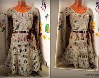 Vestido de algodón mangas largas mujer Beige casual vestido boho Hippie corto Midi sencillo vestido Falda Cottage chic verano vestido de encaje de ganchillo