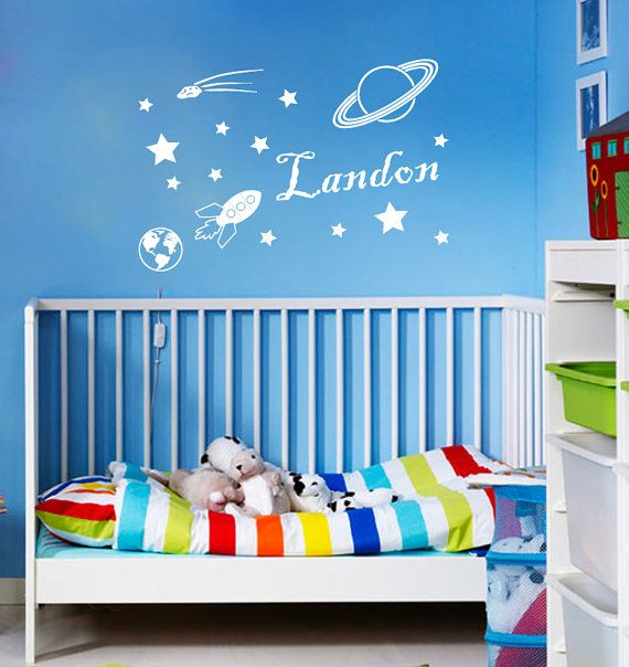 wall decals vinyl sticker decal home decor art murals custom personalized name space star rocket boy nursery bedroom dorm l562