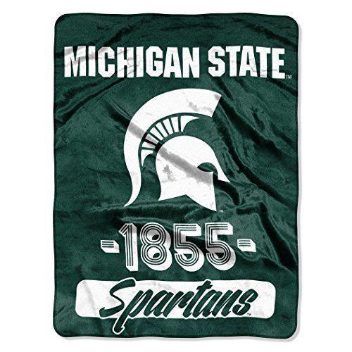 Michigan State Spartans Blanket 46x60 Raschel Vasity Design Rolled