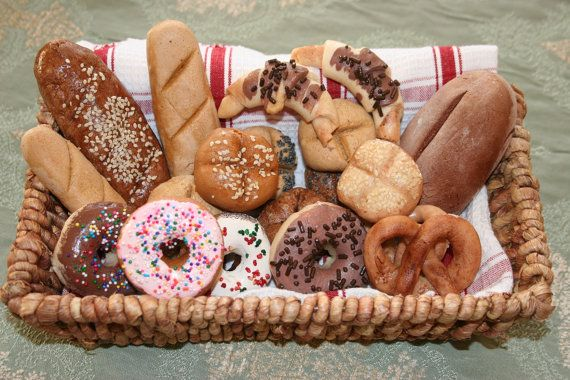 Salt Dough Pretend Play Shop baked Food Bread, Rolls, Donuts. $14.50, via Etsy.
