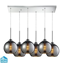 View the ELK Lighting 10240/6RC-CHR HGTV Home Cassandra Six-Light Mini Pendant Cluster with Chrome Glass Shades, in Polished Chrome Finish at LightingDirect.com.