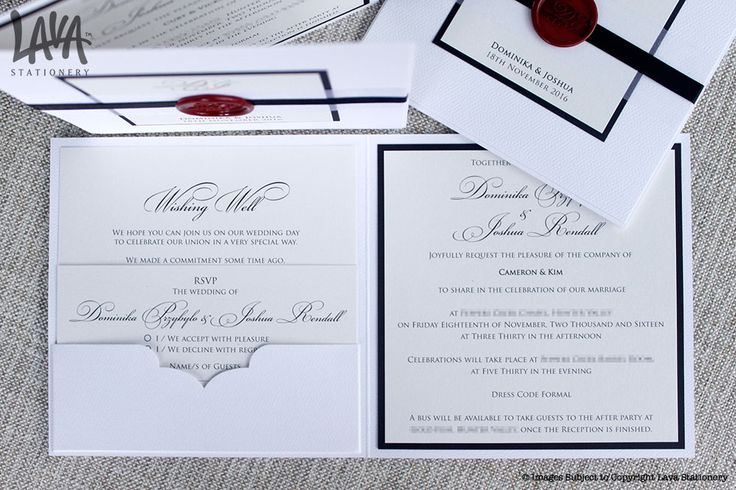 Inside pocket of the Royale invitation with #redwaxseal and #satinribbon by www.lavastationery.com.au