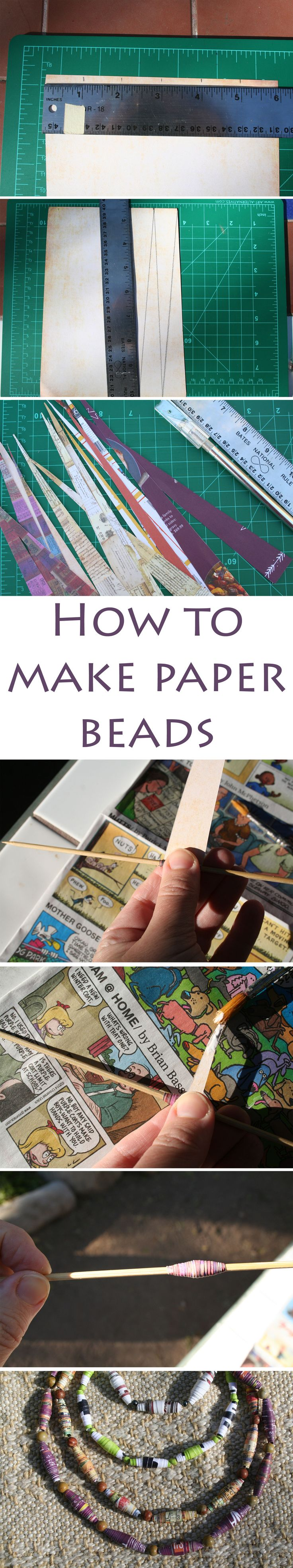 How to make paper beads - Here is a step by step tutorial on making your own paper beads. Make them into a necklace, bracelet, or earrings.
