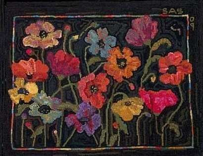 SS - POPPIES IN FIELD Rug Hooking Pattern - Sharon Smith Floral 22 x 26