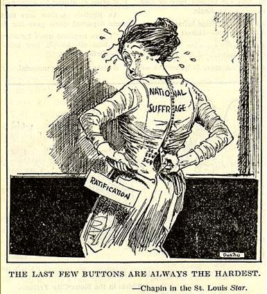 This photograph is a pro Suffarage political cartoon. It's showing a women  trying to button up the last few buttons of a dress. It's showing that the  last ...