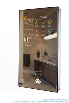 The Cybertecture® Mirror can be used in an active or passive mode, controlled via its remote control (included) and/or smartphones (optional). Passively, the Cybertecture® Mirror remains as an everyday reflective mirror. Actively, the Cybertecture® Mirror interacts with users by delivering useful information as well as monitor your health via its peripheral sensor pad (included) and communicates with your computer, mobile phone, personal digital assistant to enhance your daily life.