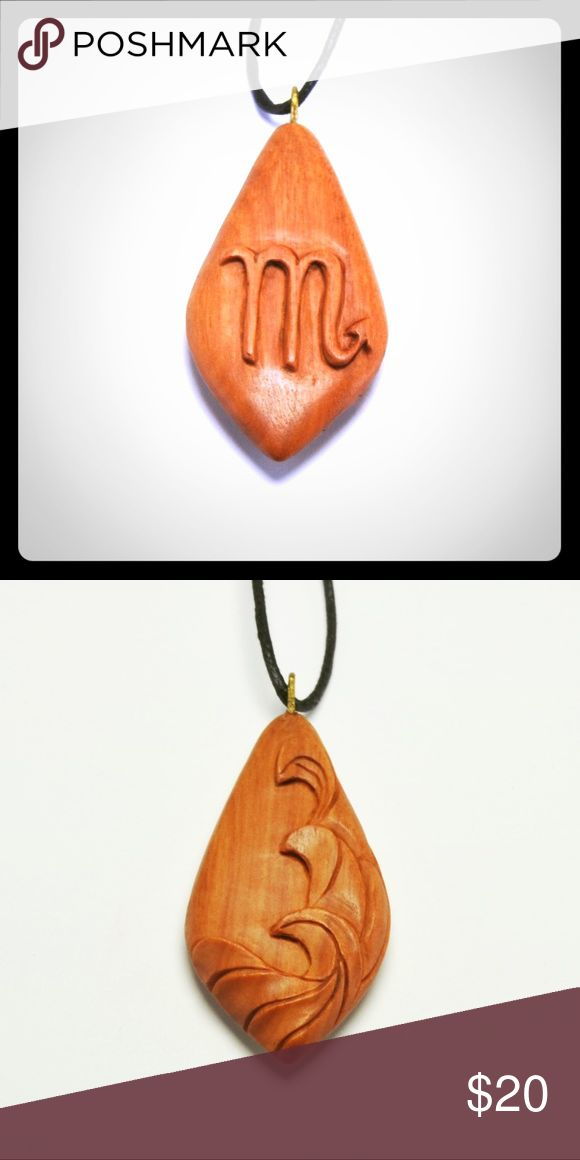 "Zodiac Scorpio Pendant - Sabo Wood Zodiac Scorpio Necklace, Sabo Wood Scorpio Pendant, Wooden, Wooden Scorpio Necklace, Hand Carved Wood Scorpio / Water October 23 - November 21 Zodiac Scorpio pendant is hand carved in Sabo wood. The inspiration for this pendant is a Zodiac sign that we all familiar, this pendant made in 3 dimensional design, the front one is the design of the Zodiac symbols and behind is the element of the Zodiac. This pendant measures approximately: length: 2.2"" (5.6 cm)…"