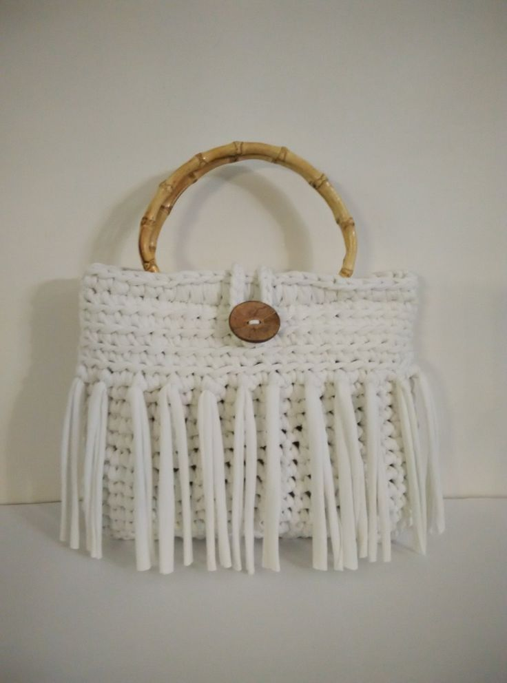 t shirt yarn crochet white handbag, bamboo handles by yrozafcrocheting on Etsy