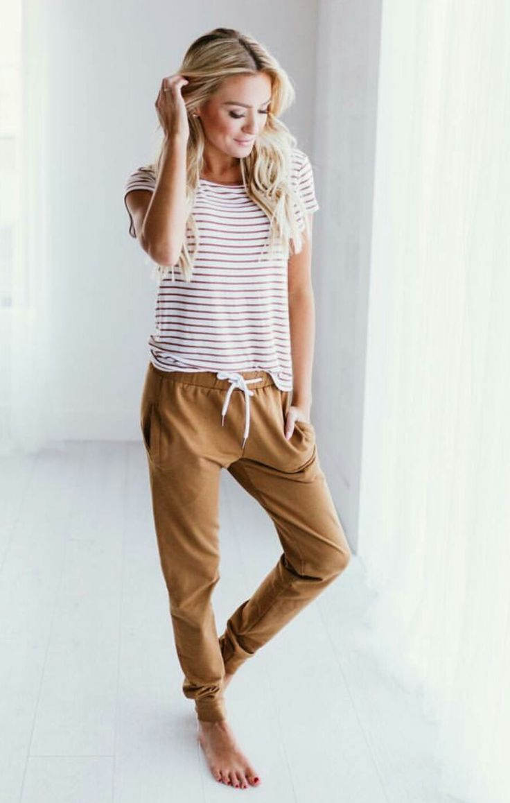 Striped tee and loose fitting pants