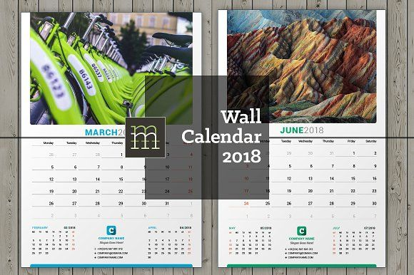 Wall Calendar 2018 (WC27) by mikhailmorosin on @creativemarket