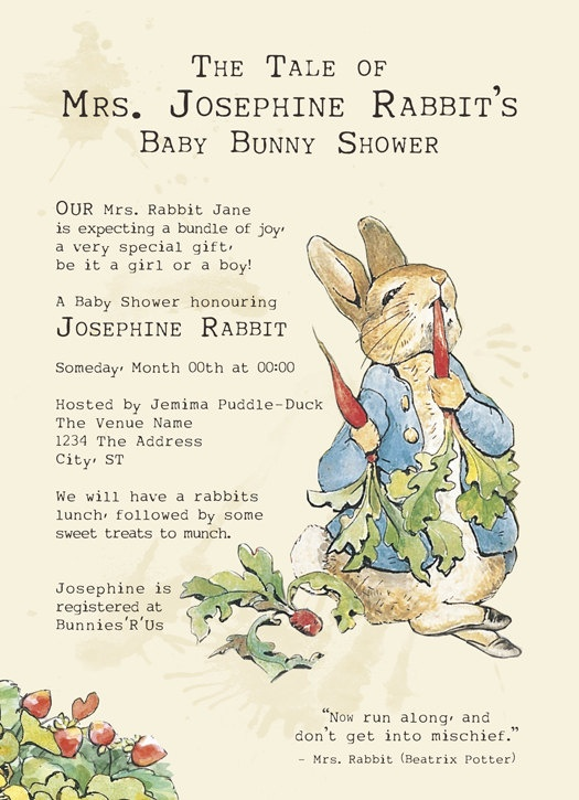 Peter Rabbit Baby Shower Invitations Set Of 25 By PaperCutCouture, $45.00