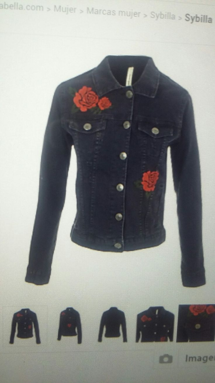 Campera Jean rosas bordadas