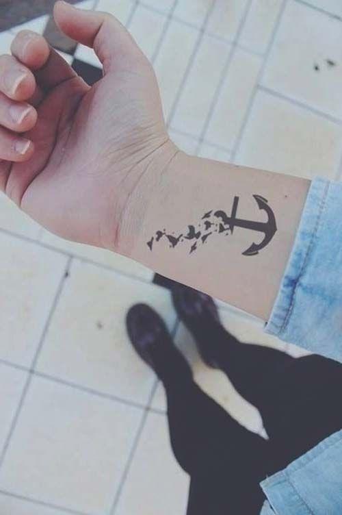 wrist birds and anchor tattoo kuş ve çapa dövmesi