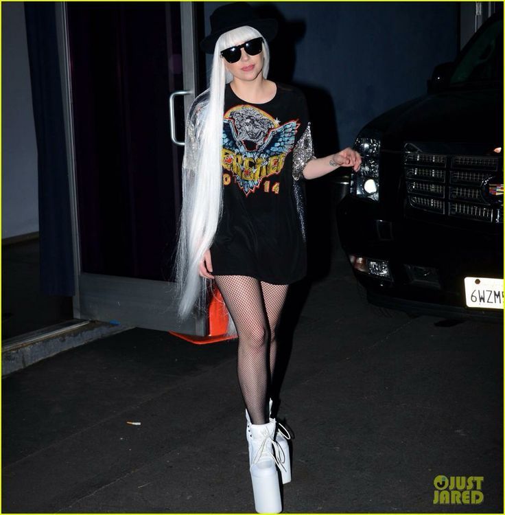 Lady Gaga featured on Just Jared looking chic in a Versace top from the Spring collection. #VersaceLovesGaga