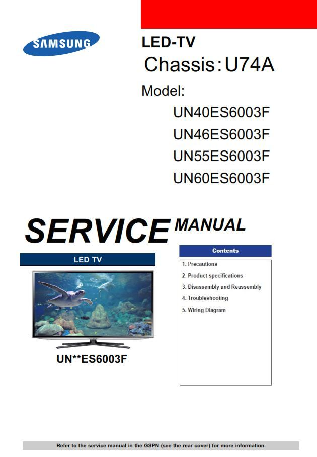 Samsung Un40es6003 Un46es6003 Un55es6003 Un60es6003 Service Manual Repair Guide Tv Services Maintenance Jobs