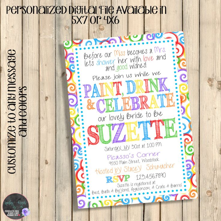 Art Party Invitation, Art Party Bridal Shower, Paint and Drink, Bachelorette Party Invite, Wine and Sip Party, Paint and Wine Party, Digital by SquishyDesignsbyMe on Etsy