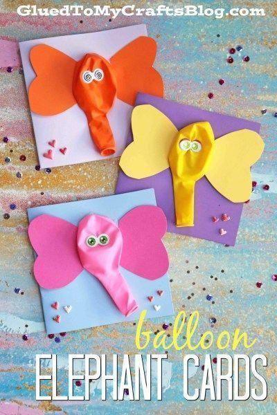 Balloon Elephant Cards Kid Craft Idea Craftideasforchildren