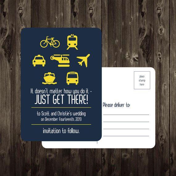Save the Date Postcard Travel Icons DIY Printable 5X7 Digital File Destination Wedding via Etsy