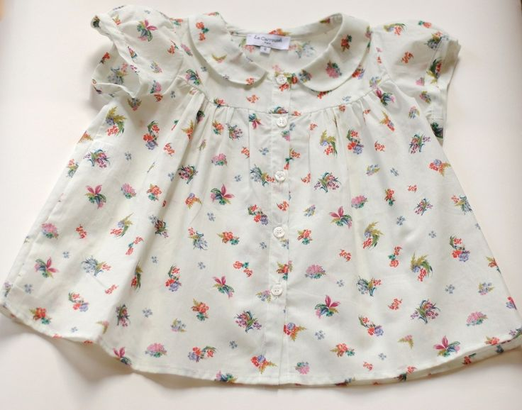 Tendre Deal - 100% cotton Floral Shirt with Peter Pan collar, front buttoned and balloon sleeves Exclusive online Boutique dedicated to Kids & French Designers #FrenchFlair would like for my little miss she would look very pretty