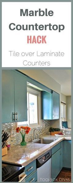 Marble Countertop Hack: How to Tile Over Laminate Countertops. Create an under mount sink look with tile.  No plumbing required. - ToolBox Divas #countertop #laminate #marble #DIY #kitchen #makeover