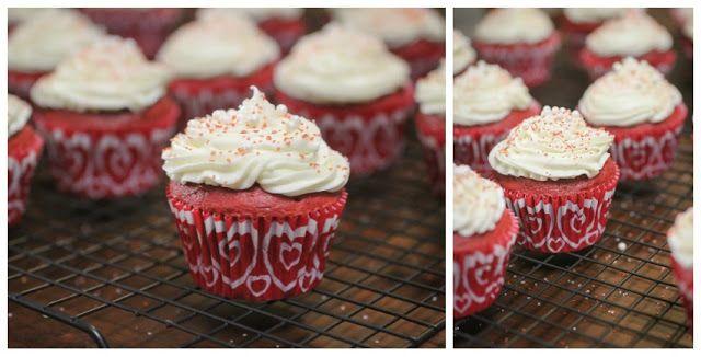 via The Freckled Fox : Em's Easy Red Velvet Cupcakes