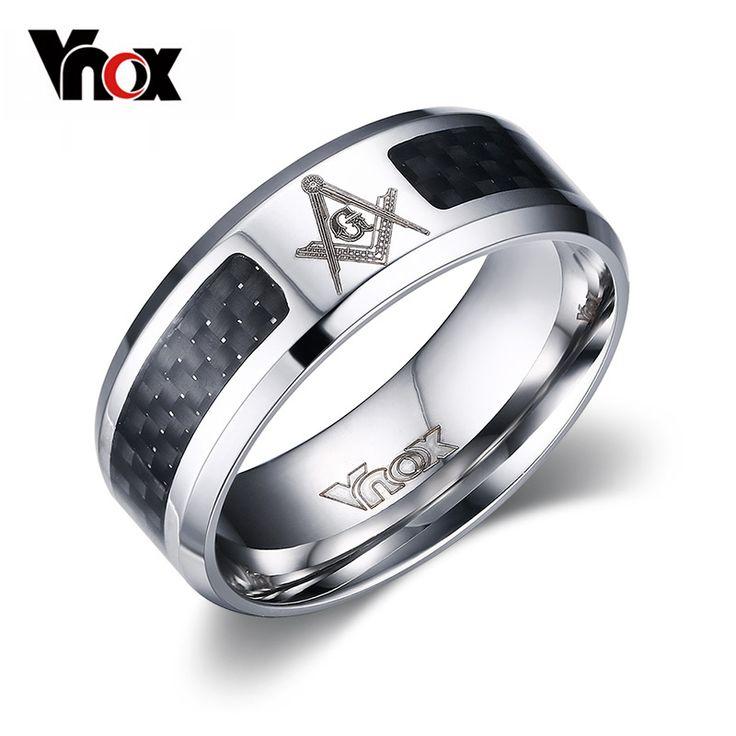 Vnox joyería masónica anillo negro hombres de acero inoxidable punky al por mayor del anillo de bodas