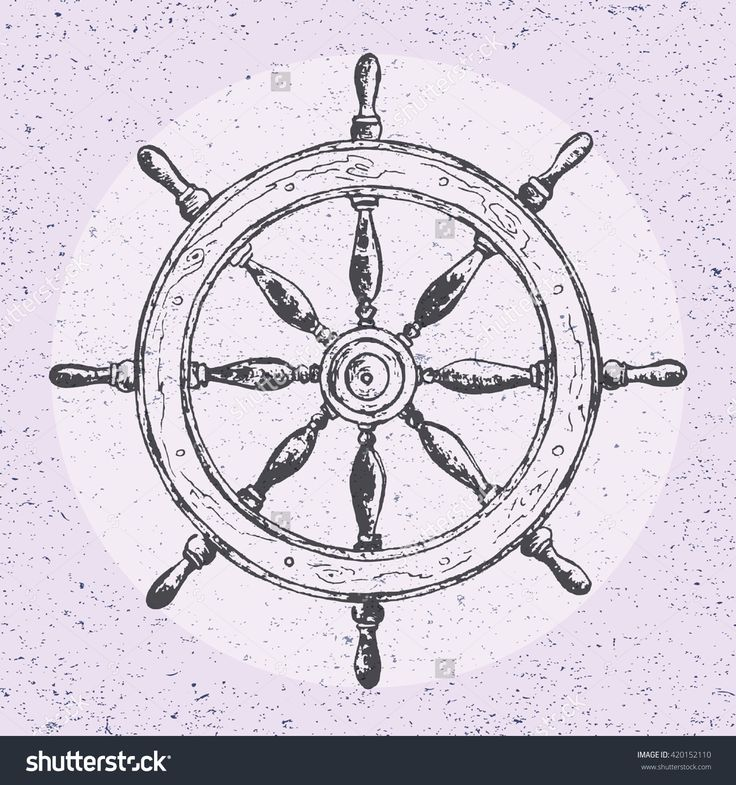Hand drawn illustration of wheel. Vector design element of ship helm in line art style with engraved elements. Tattoo isolated on vintage background. Old rough obsolete big circle