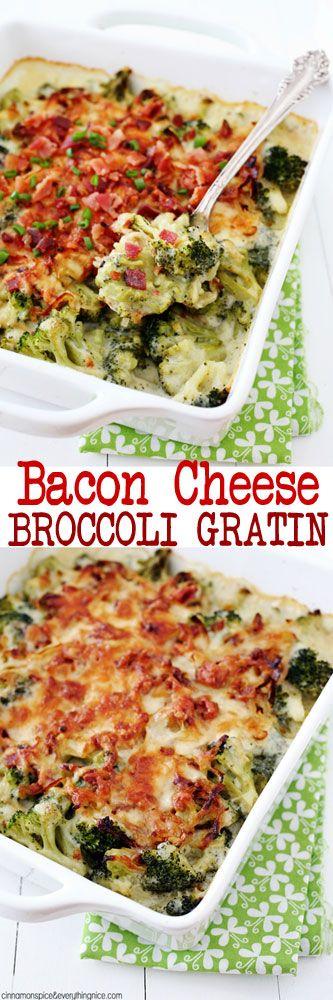 Bacon Cheese Broccoli Gratin #broccoli #thanksgiving
