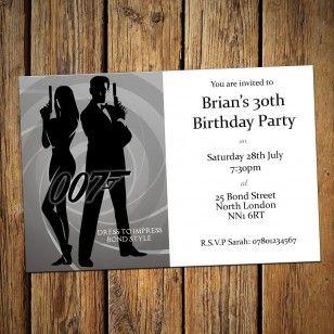 30th Personalised Party Invitations & Envelopes James Bond Theme