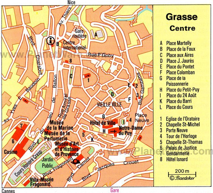 Cartina Di Cannes Francia.Grasse Center Map Tourist Attractions Day Trips Map France