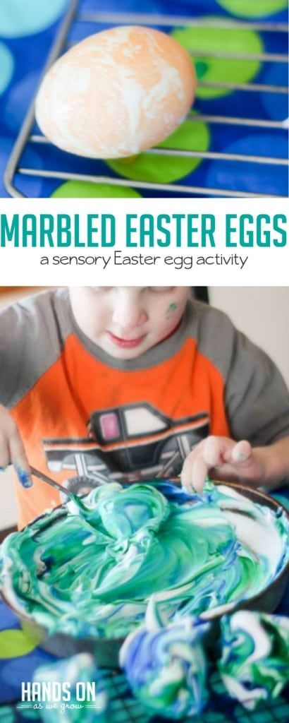 It's easy to involve toddlers when you make marbled Easter eggs. There's even a fun sensory twist!