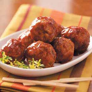Tangy Turkey Meatballs...1/4c ketchup, 2T water, 4t lemon juice, 2t brown sugar, 2t molasses, 1/2t mustard, 1/2t chili powder, 1/4t cayenne, 1/8t pepper....mix over med heat...simmer meatballs for 10 min.