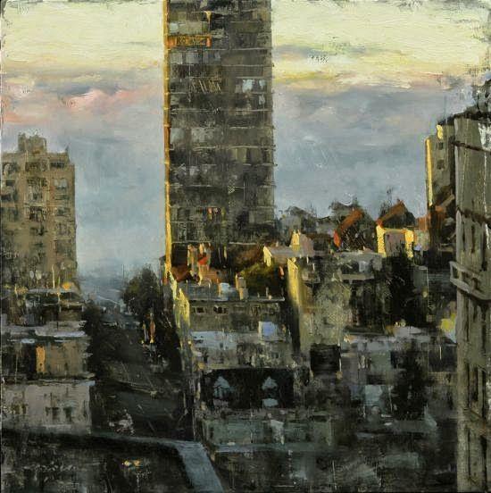 Hsin-Yao Tseng pinturas borradas impressionistas cidades