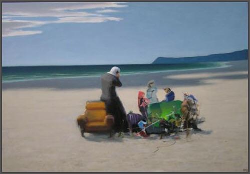 Klyngefolk på stranden