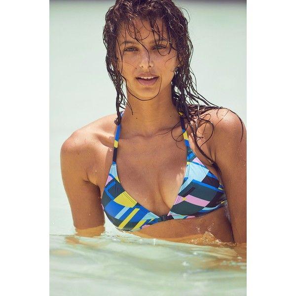 Out From Under Printed Triangle Racerback Bikini Top ($42) ❤ liked on Polyvore featuring swimwear, bikinis, bikini tops, racer back bikini, swim suit tops, triangle swimsuit top, triangle bikinis and triangle bikini top
