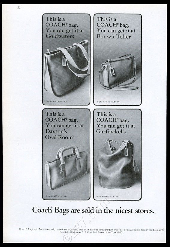 1976 Coach Leather Bag Purse Handbag 4 Styles Photo Vintage Print Ad   eBay