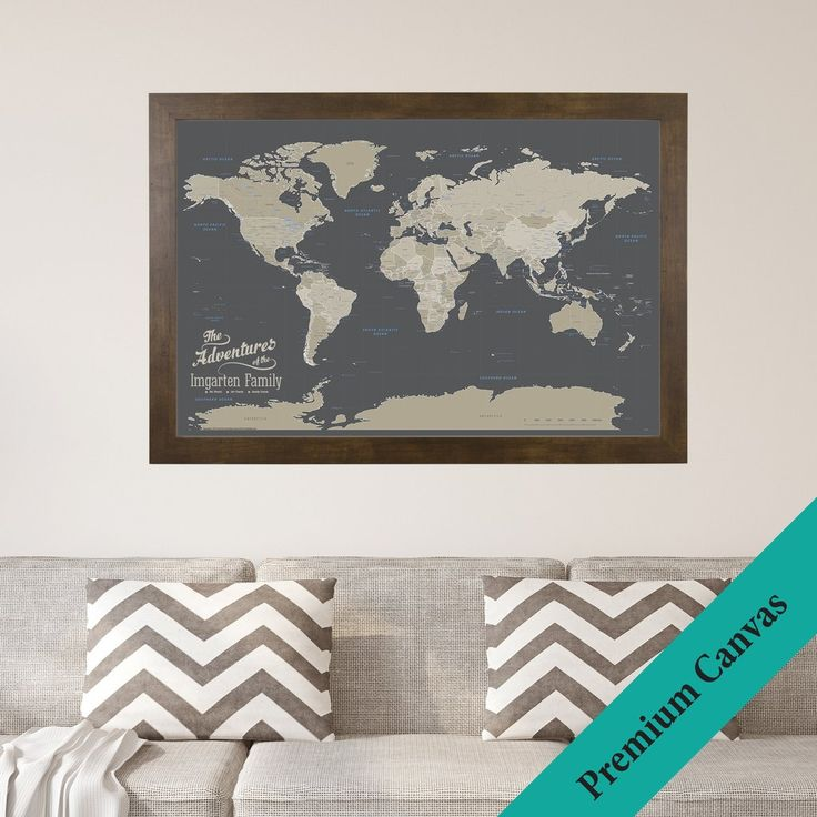 Canvas Earth Toned World Travel Map