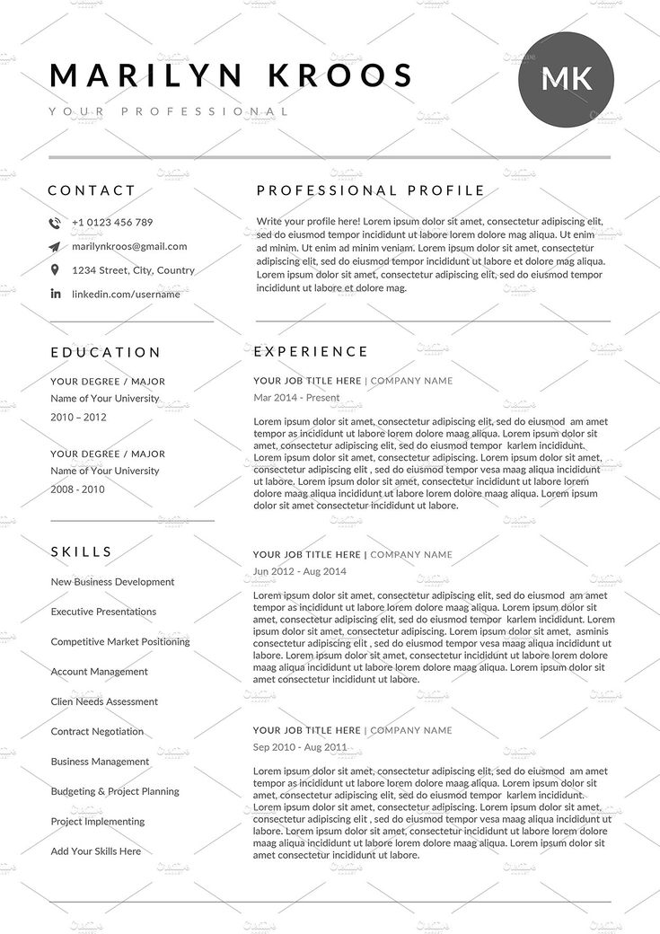 A sleek modern resume / CV template with a header banner and sidebar layout. Free contact icons included. #resume #resumetemplate #CV #CVtemplate #gethired
