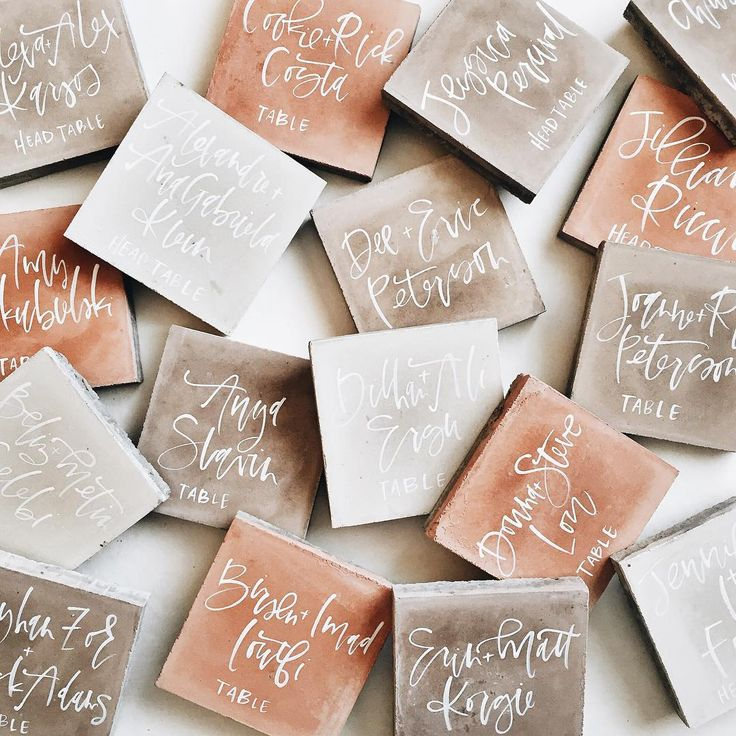 craft ideas for wedding place cards%0A these cement tiles win for all time best escort card material   itonlytookseventripstogetthemallupthestairs supplies are on