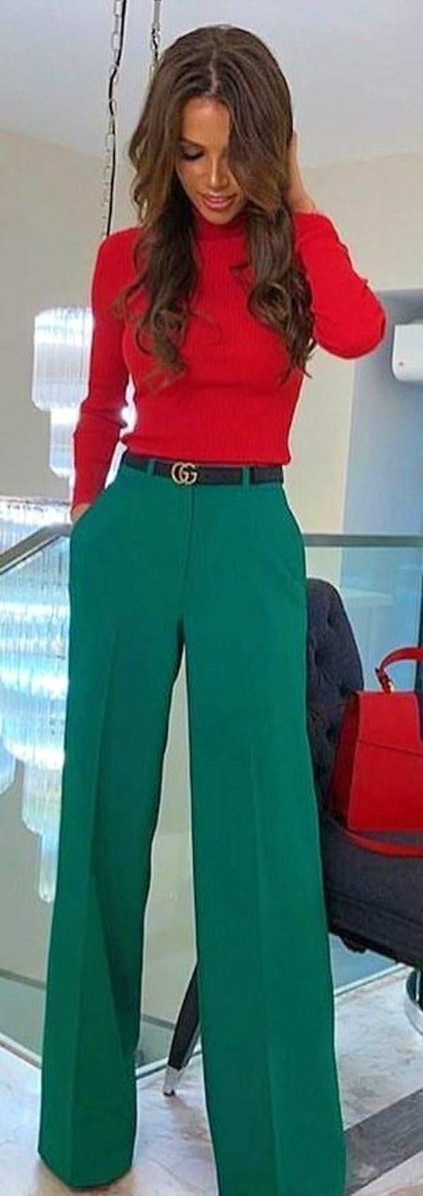 #spring #outfits woman wearing red long-sleeved shirt and green pants outfit. Pic by @best_street_styles