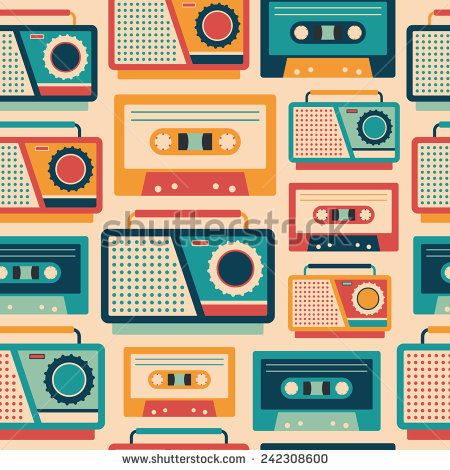 Seamless pattern with retro tape recorders and cassettes. #retro #retropattern #vectorpattern #patterndesign #seamlesspattern