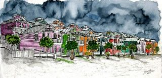 Modern Art Watercolor, Acrylic, and Oil Paintings: beach houses pen and ink drawing