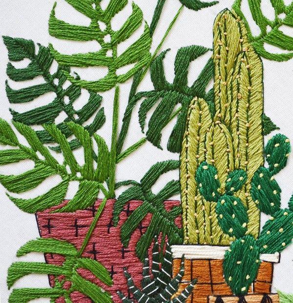 Después de enseñaros las cinco plantas todoterrenos que podéis poner en casa y que no se mueran, hoy os enseñamos otro tipo de plantas. Las plantas en los bordados deSarah Benning, donde costillas de adán y sansevieras se transforman en unos p