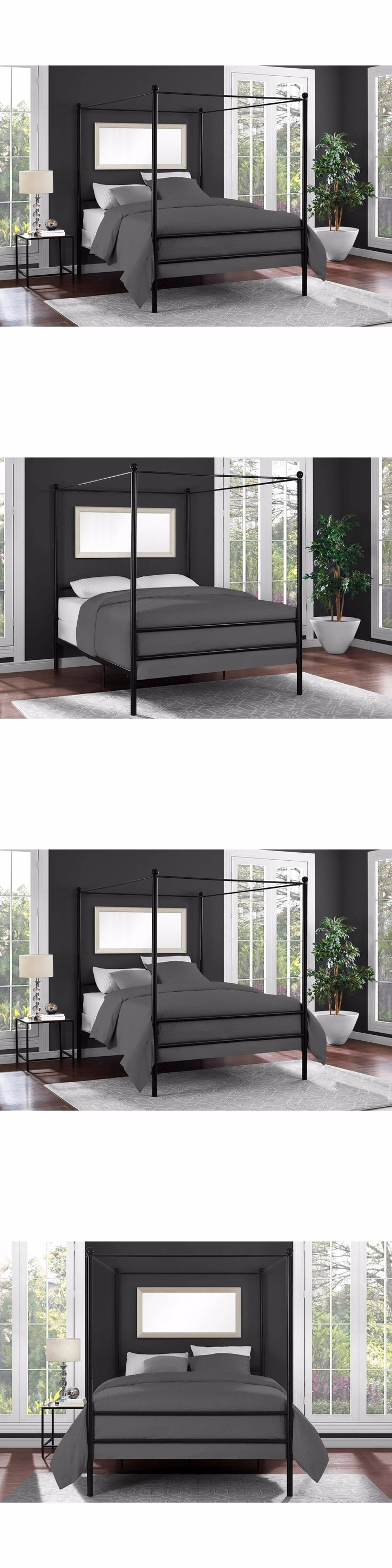 Napa queen size black canopy bed free shipping today overstock com - Beds And Bed Frames 175758 Metal Canopy Platform Bed Frame Headboard Bedroom Furniture Modern Full