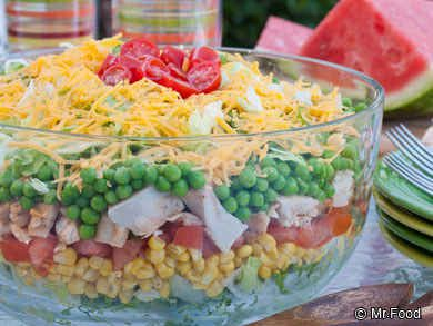 Rainbow Stacked Salad | 15 Potluck Recipes That'll Save Your Life This Summer
