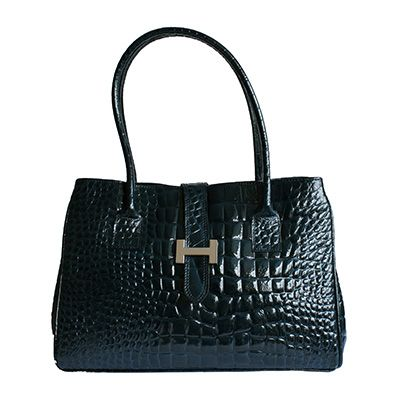 H-Lock Italian Navy Blue Patent Croc Leather Shoulder Bag - Down to £49.99 from £59.99